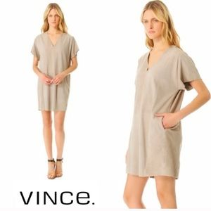 Vince Suede leather dress beige pockets XS